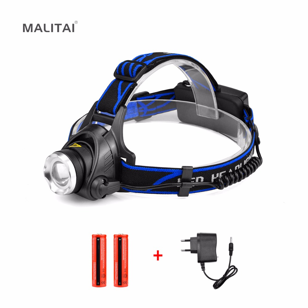 Zoom LED Headlight Flashlight CREE XM-L T6 Waterproof LED Headlamp head lamp light With Rechargeable 2x 18650 Battery EU Charger led headlamp cree xm l t6 led 2000lm rechargeable head lamps headlights lamp lights use 18650 battery ac charger head light