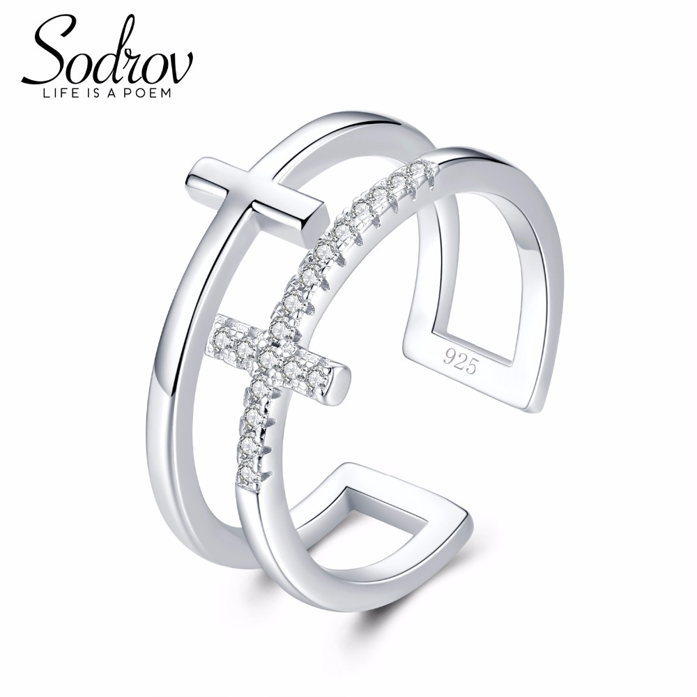 Trendy Simple Style Hot Sale 925 100% Solid Sterling Silver Open Finger Rings For Women Cross Birthday Present R032