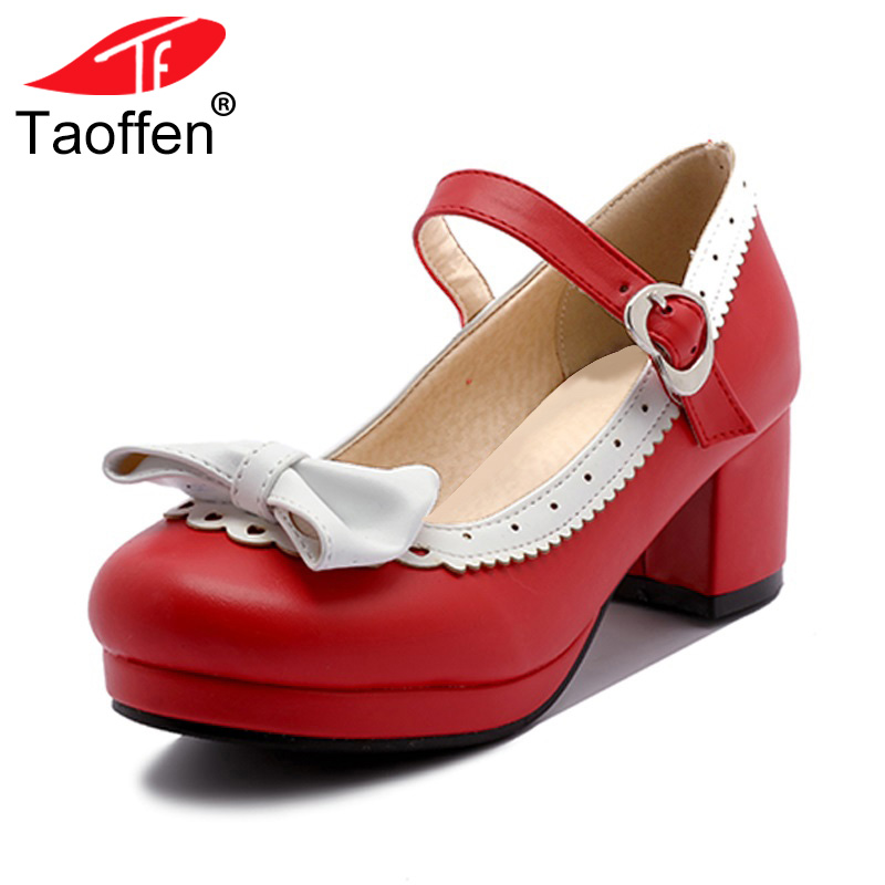 TAOFFEN Women Thick High Heel Shoes Women Patchwork Bowknot Heart Buckle Heels Pumps Ladies Office Daily Footwear Size 28-43 taoffen size 28 52 women pumps pointed toe ladies shoes woman buckle ankle strap high heels zapatos mujer footwear pa00908