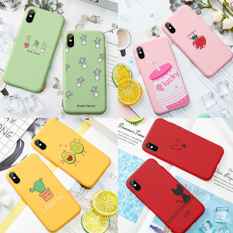 Soft TPU Pattern Matte Case For iPhone 6 6S 7 8 Plus X 5 5S SE XS Max XR Cover Cute Cartoon Love Heart Back Cover For iPhone 7 8