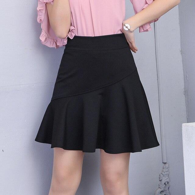 13afa90e202 2018 Spring   summer A Line Skirt Korean Fashion Slim Sexy College Style  Elastic High Waist