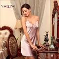 2016 Nuevas Mujeres Atractivas ropa de Dormir ropa de Dormir de Seda del faux Suave Camisón de la Correa de Espagueti Camisón Femenino ropa interior Confortable