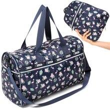 Купить с кэшбэком Waterproof Folding Travel Bags Hand Luggage Women Collapsible Bag Large Capacity Sport Shoulder Bags Weekender Bag Travel Women