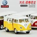 Regalo para el bebé 1 unid 1:32 13 cm Kinsmart delicada Volkswagen 1962 bus clásico de aleación tira del modelo decoración del hogar juguete de niño