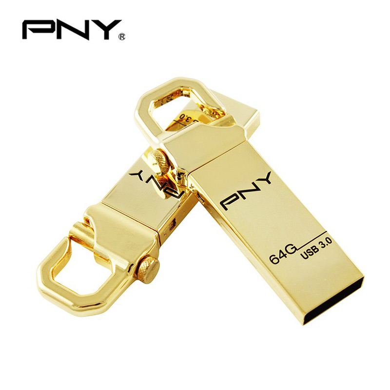 PNY USB Flash Drive 64GB USB 3.0 High Speed drives metal Gold pendrive Memory usb flash disk U stick Hook Attache usb 64gb