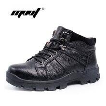 Fashion super warm genuine leather men boots comfortable men winter boots, Plush fur winter shoes outdoor snow boots