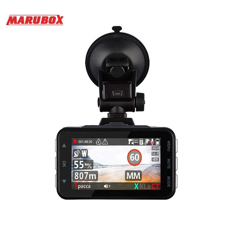 Marubox M610R car dvr radar detector gps 3 in 1 HD1296P 170 Degree Angle Russian Language Video Recorder logger free shipping