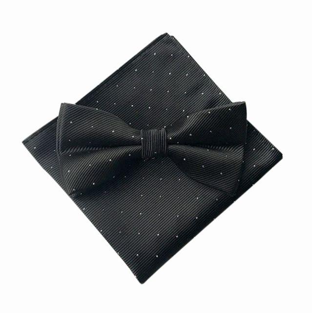 Hot 7 Color Men's Fashion Bow Ties Set Groom Gentleman Dots Cravat and Pocket Towel Handkerchief Wedding Party Business Ties T6 3