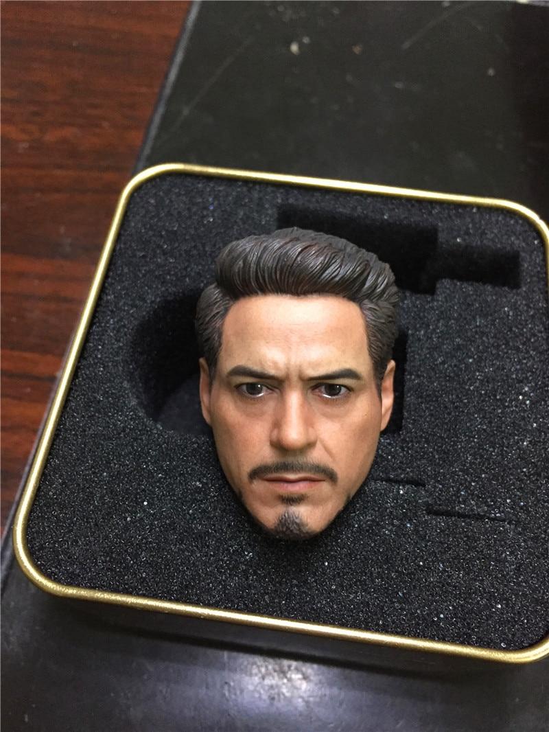 "ELITE TOYS 1//6 Tony Stark Iron Man Head Carved PVC Figure Model F//12/"" Doll"