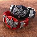 Julie aliexpress venda quente lol pulseira de couro vermelho preto pulseira do punk pulseiras da amizade pulseiras para homens pulseira de presente do menino