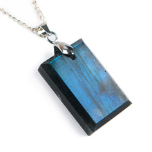 Top Natural Labradorite Blue Light Gemstone Pendant Women Men 26x17x7mm Rectangle Shape Crystal Moonstone AAAA