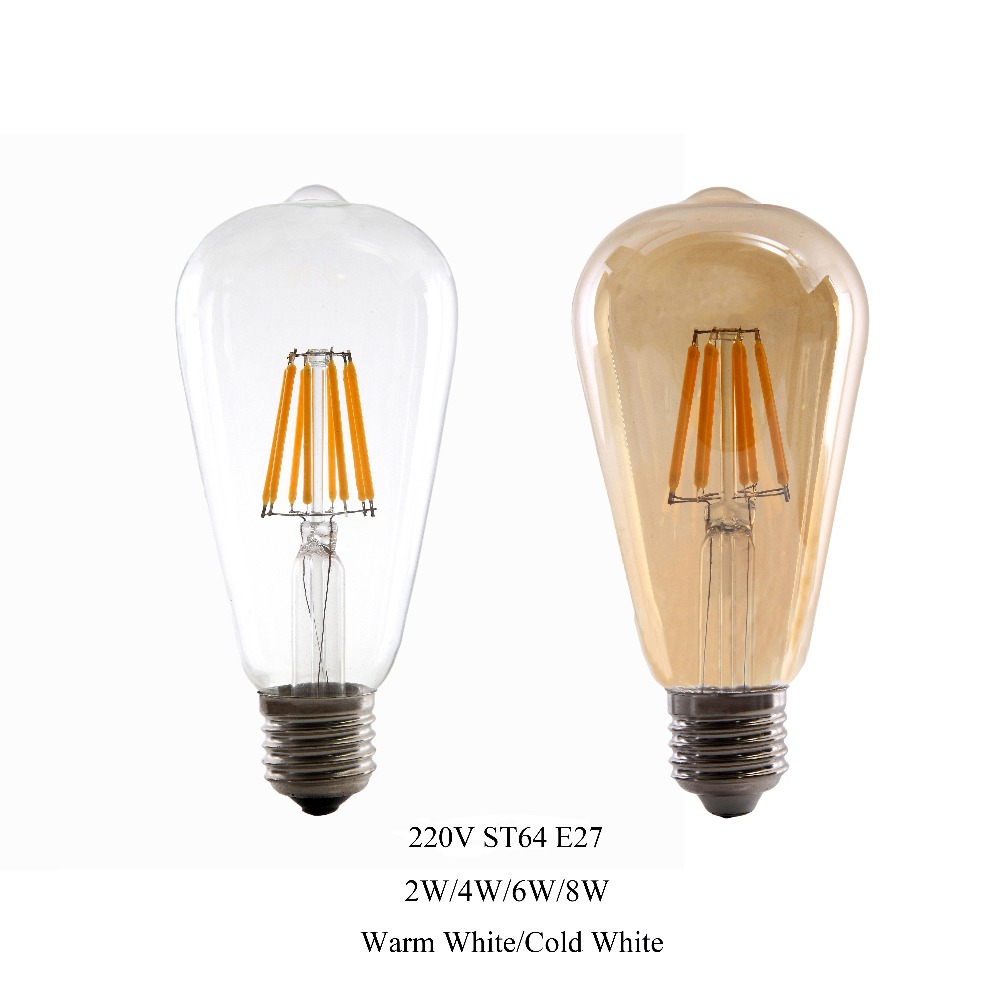 2W 4W 6W 8W E27 LED Light ST64 LED Bulb Retro Edison Clear Amber Cover 220V LED Filament Antique Vintage Glass Lamp