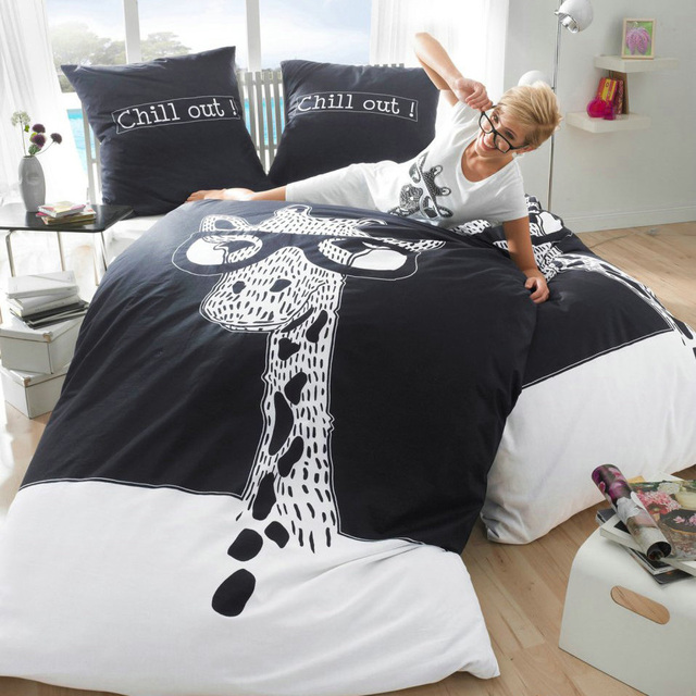 Black And White Giraffe Bedding Set King Size Queen Cotton Bed Sheets  Double Quilt Duvet Cover