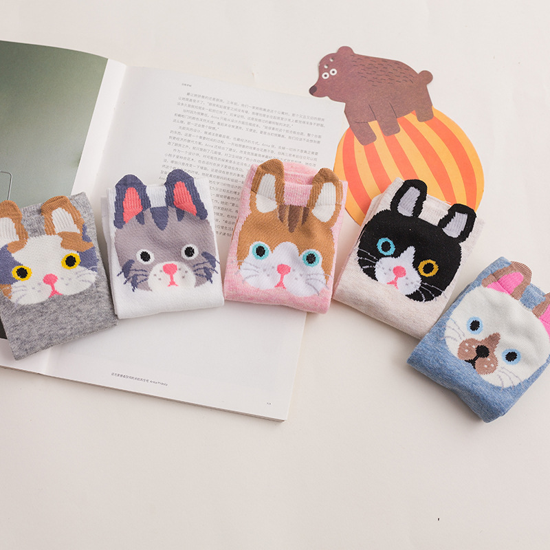 5 Pairs/lot 2019 Spring Summer New Cartoon Animal Ears Cute Women Socks Cotton Cats Rabbit Short Socks 35-40