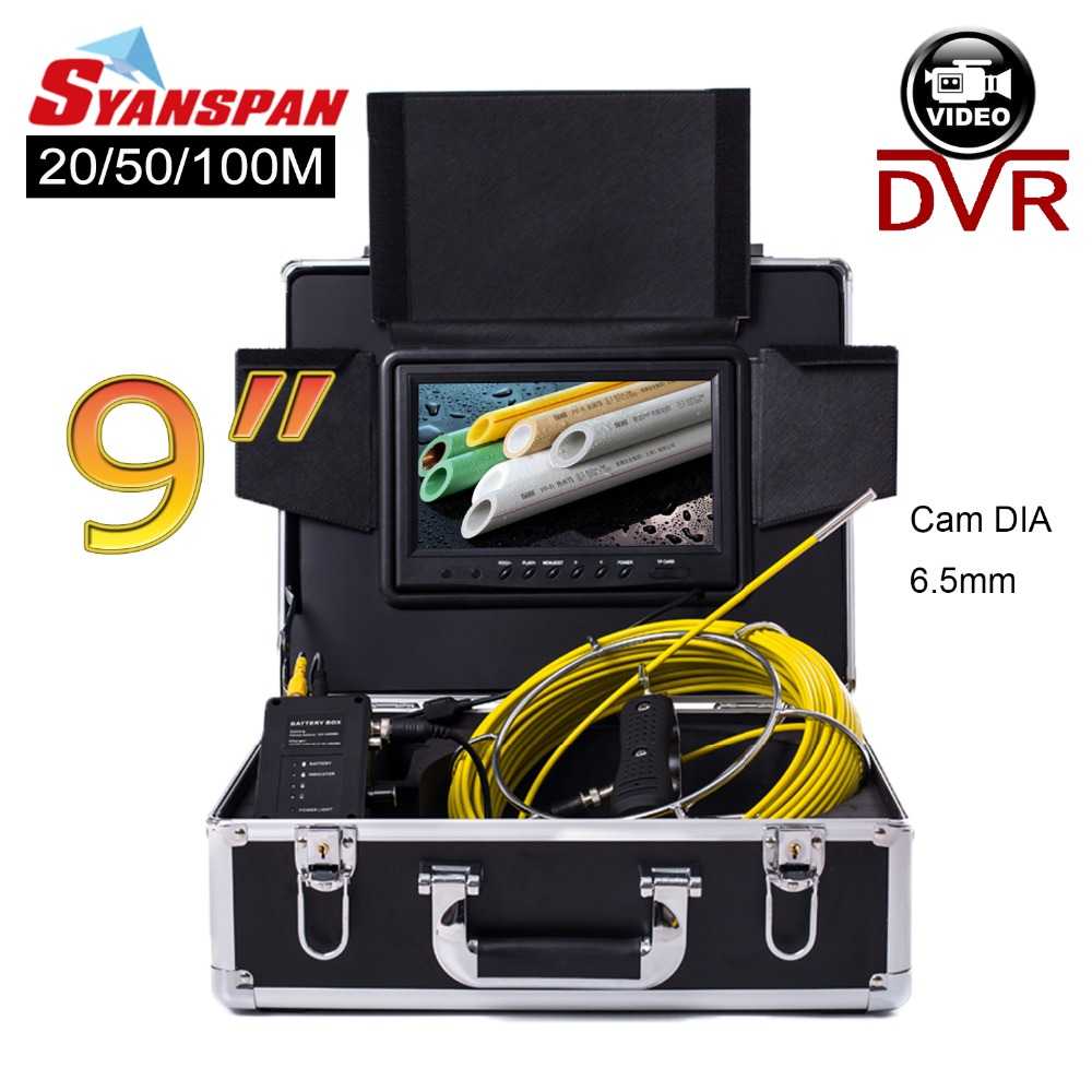 SYANSPAN 20/50/100M 9Monitor Pipe Inspection Video Camera, 8G TF Card DVR IP68 Drain Sewer Pipeline Industrial Endoscope 6.5mm dhl free wp90 50m industrial pipeline endoscope 6 5 17 23mm snake video camera 9 lcd sewer drain pipe inspection camera system
