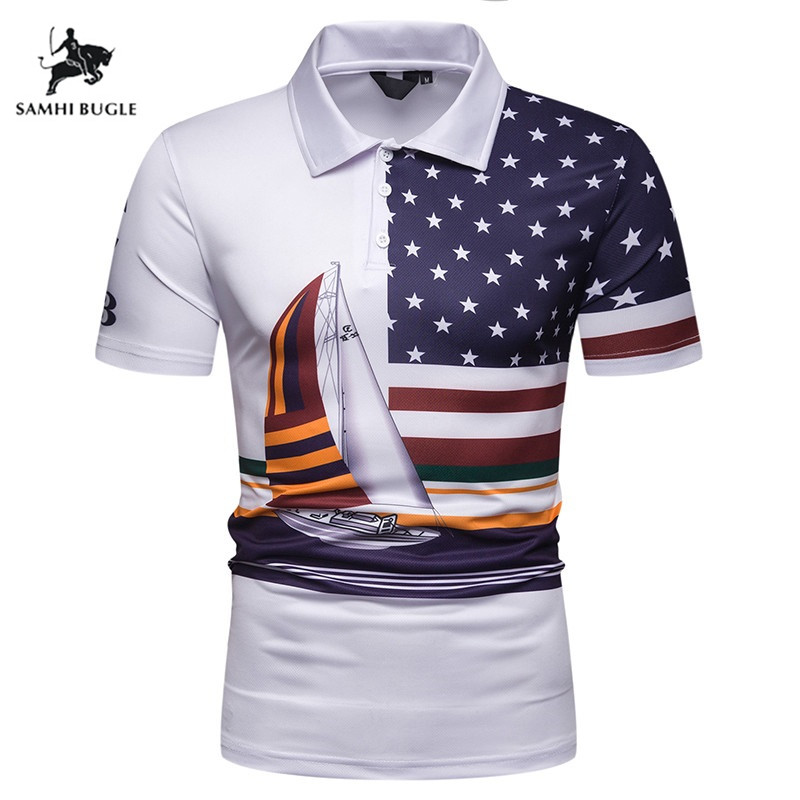 Brand Short Sleeve Man Polo Shirt Men High Quality 2019 New Polo Homme Business Men's Clothing National Flag Print Polos