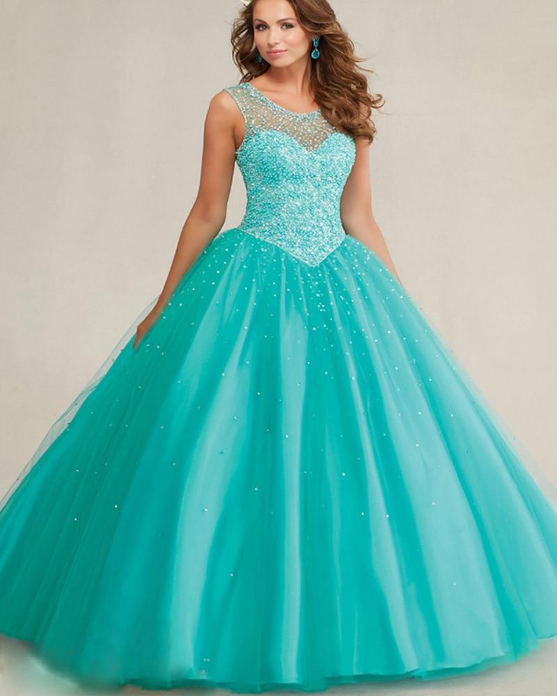 9134b6fb6 Por encargo Lago Azul del vestido de bola vestido de Quinceanera 2016 o  cuello hollow perlas con cuentas de tul vestido de debutante vestido de 15  anos en ...