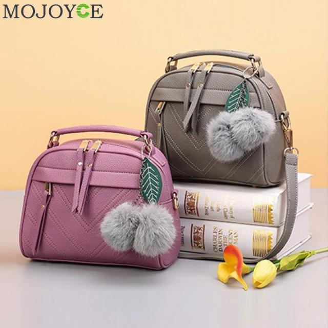 Fashion PU Leather Handbag for Women 2019 New Girl Messenger Bags with Ball Toy Bolsa Female Shoulder Bags Ladies Party Handbags