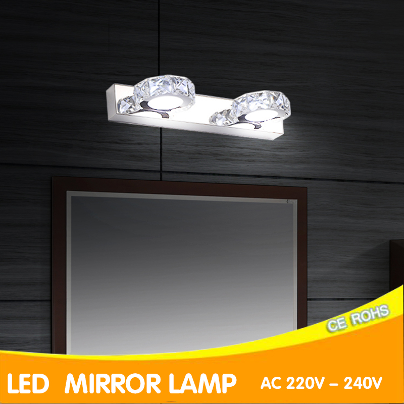 Green Eye Wall Lamp Bathroom Led Mirror Light k9Crystal3W/6W/9W AC 220V 240V 110V Wall sconces Light With Switch Indoor Lighting 3w smd 5050 led wall sconces picture mirror front light warm whitefixture bathroom lamp with switch