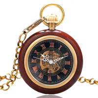 Roman Numerals Skeleton Watches Steampunk Mechanical Wooden Case Frame Pocket Watch With Chain Free Shipping