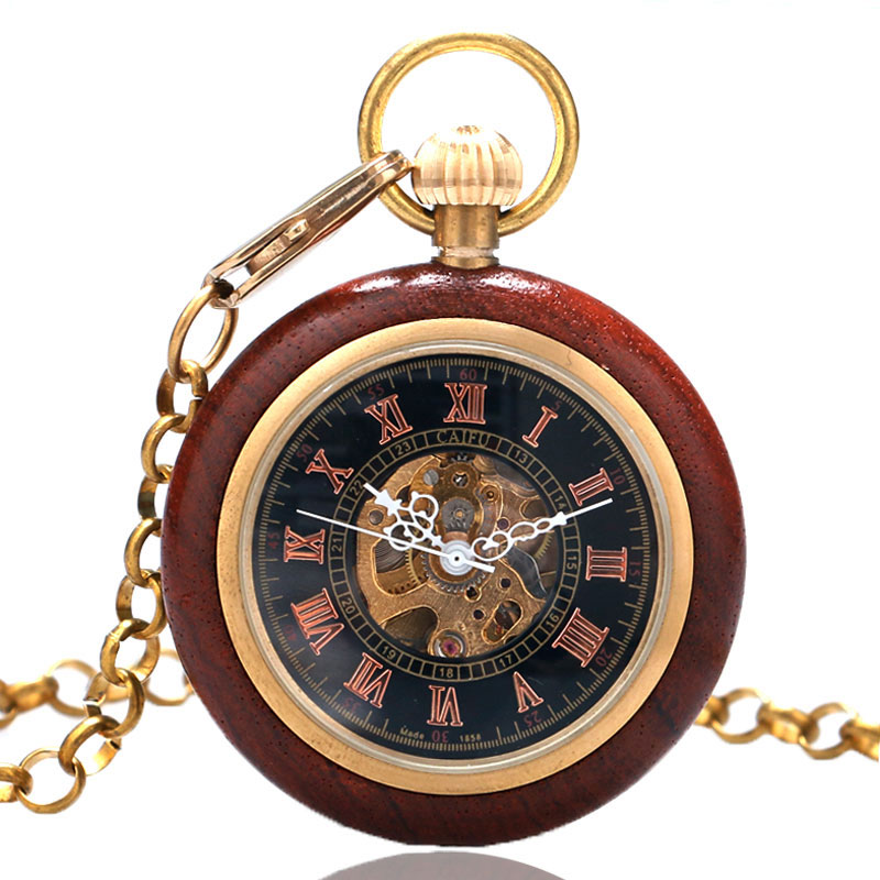 Roman Numerals Skeleton Watches Steampunk Mechanical Wooden Case Frame Pocket Watch With Chain Free Shipping steampunk mechanical silver black mental flower cover pocket watch chain women men watches free shipping p837 8c