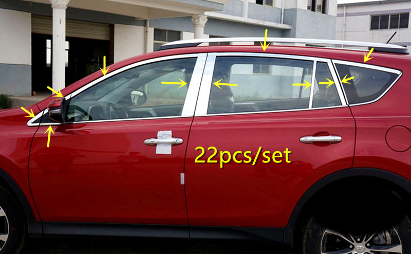NEW!! For TOYOTA RAV4 2013 - 2016 Chrome Exterior Stainless Full Window Sill Decorative Trims 22pcs new arrival for lexus rx200t rx450h 2016 2pcs stainless steel chrome rear window sill decorative trims