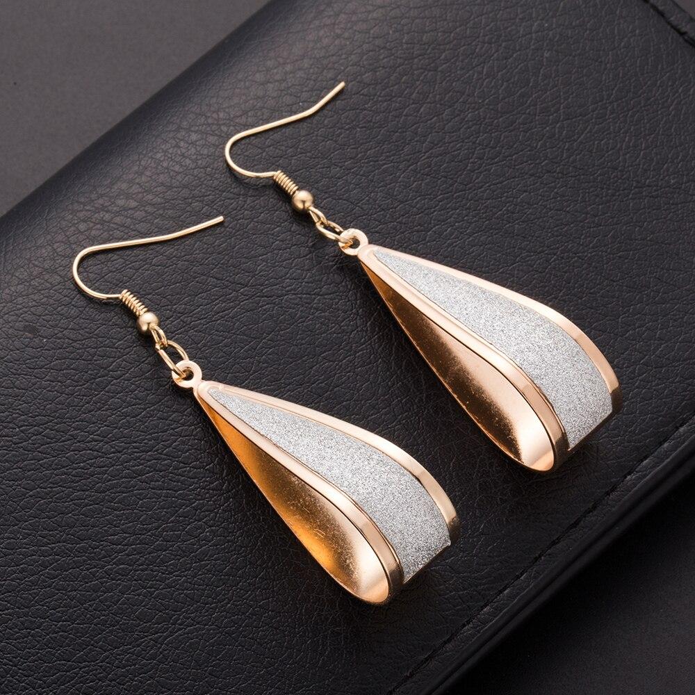 ALIUTOM Brincos longos dangle para mulheres Silver/Gold Crystal Scrub Drop Hook Earrings Long earring Pendientes For Women