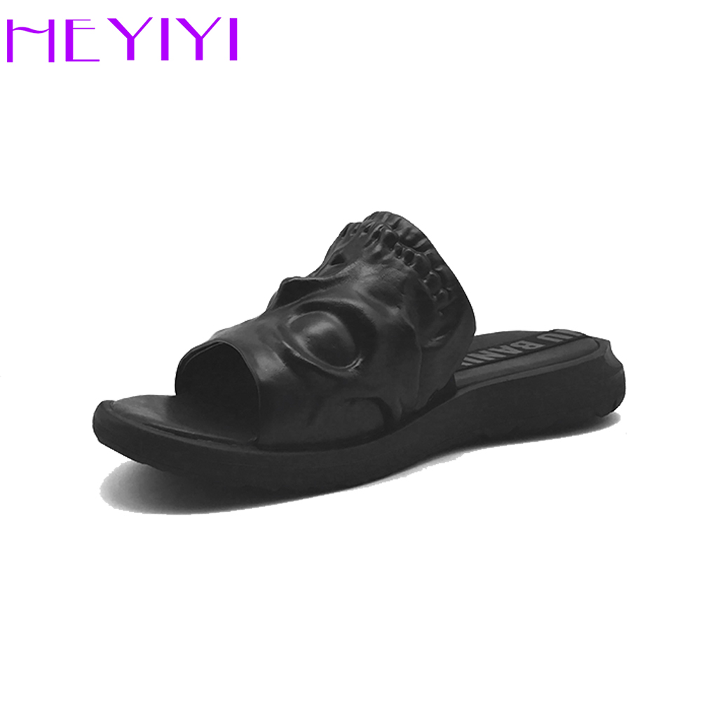 HEYIYI Brand Men Shoes 3D Print Genuine Leather Slipper Skull Element Personalised Fashion Shoes Black wild single items