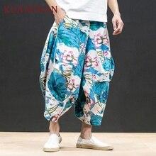 KUANGNAN льняные брюки в китайском стиле, Мужские штаны для бега, Японская уличная одежда для бега, Мужские штаны в стиле хип-хоп, спортивные штаны, мужские брюки