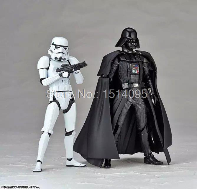 Star Wars Revoltech Darth Vader 001 Stormtrooper 002 PVC Action Figures Collectible Model Toys saintgi star wars darth maul play arts original darth vader espada bb8 figures toys revoltech pvc collectible model 26cm