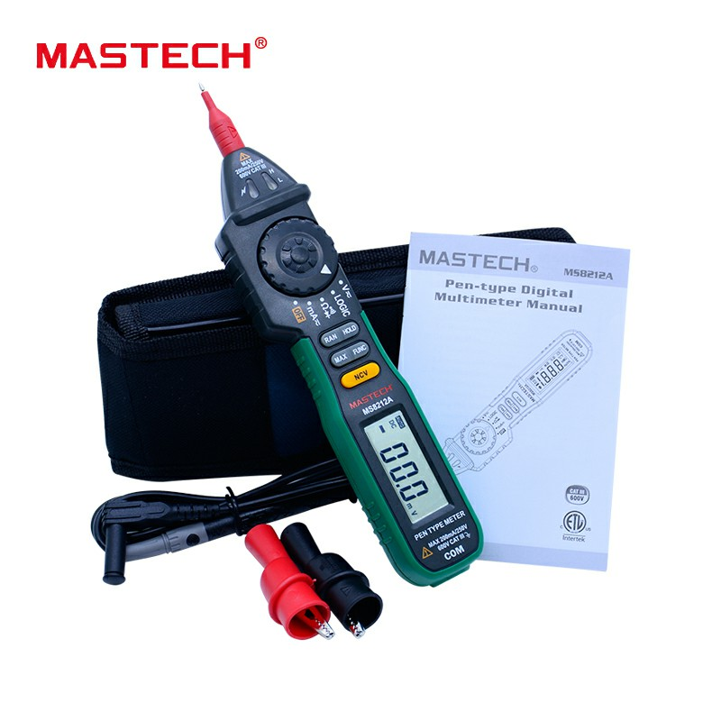 Pen-Type Digital Multimeter MS8212A Pen type Digital Ammeter Multitester With Logic and Non-Contact Voltage Test mastech ms8212a multi function pen type digital multimeter auto range logic level continuity diode test non contact tester