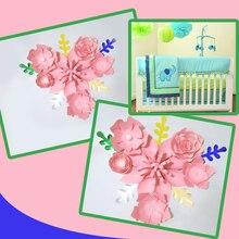 Handmade Pink Rose DIY Paper Flowers Leaves Set For Nursery Wall Deco Boys Room Baby Shower Backdrop Video Tutorials