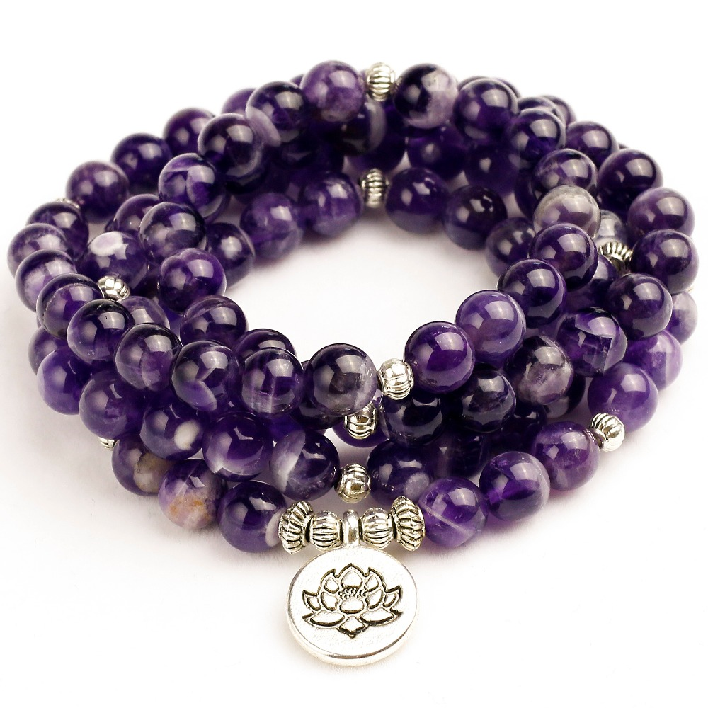 Woman Mala Unisex Bracelets For Women Natural Purple Quartzs Energy Yoga Mala Lotus 108 Beads Buddha Bracelet Stone Jewelry все цены