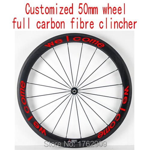 Us 15799 1 Stks 700c Aangepaste 50mm Clincher Velgen Road Track Fixed Gear Bike Aero 3 K Ud 12 K Full Carbon Fiets Wielstellen Gratis Schip In