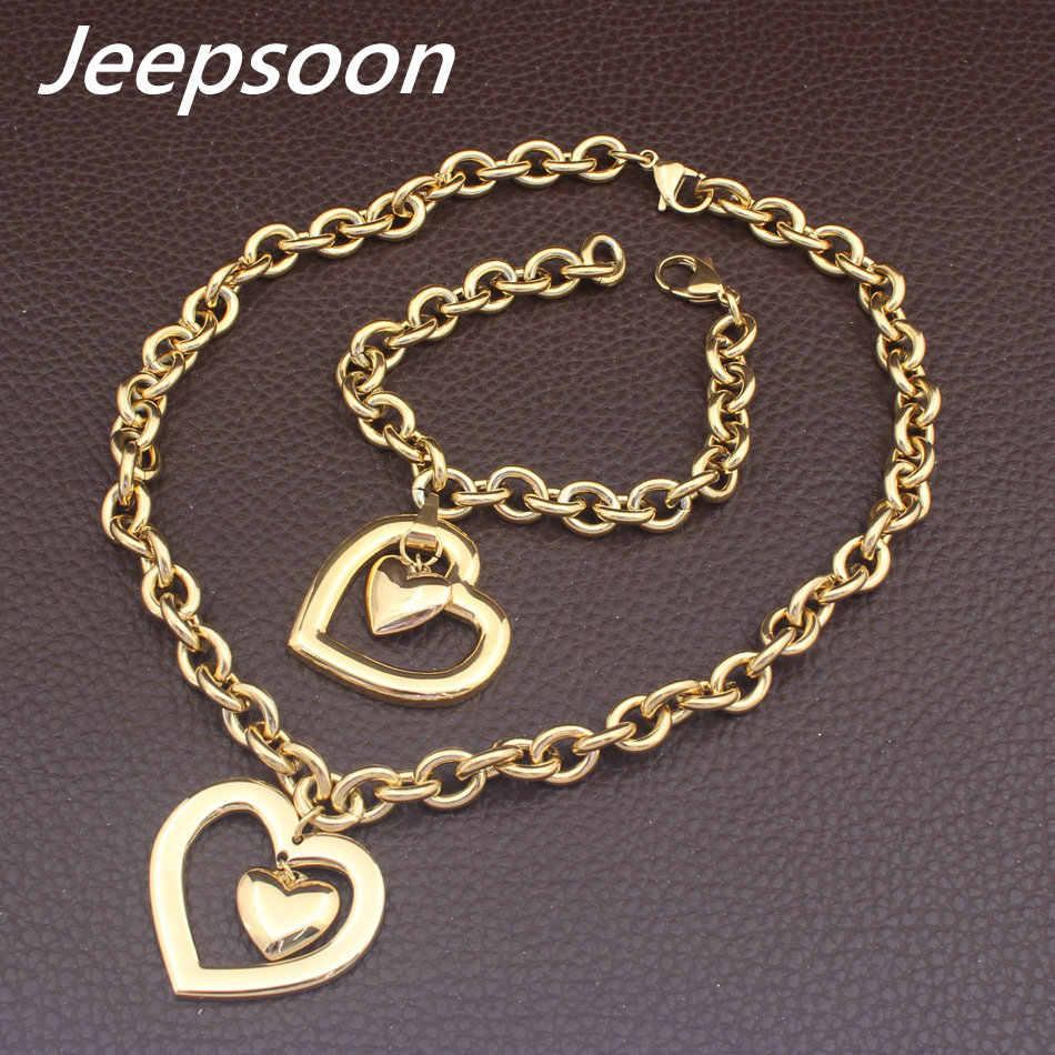 Gorąca stal nierdzewna moda biżuteria w kształcie serca złoty kolorowy naszyjnik bransoletka zestawy kolczyków dla kobiet SBJFLVDC