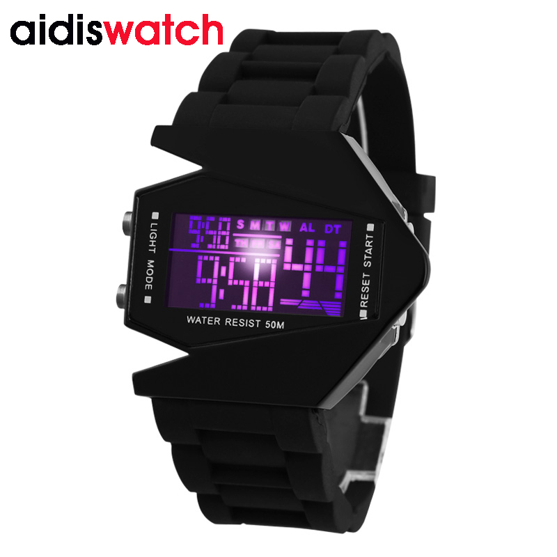 Hot koop Fashion Women Mens Futuristische Stijlvolle Multicolor Silicone LED Sport Wrist Watch