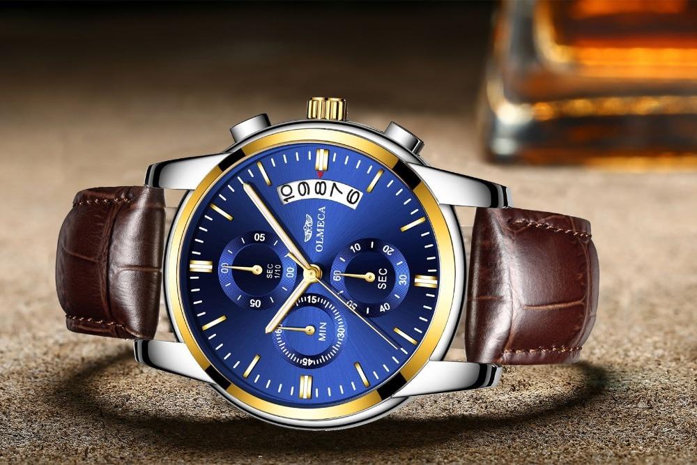 5b78ba7b292 OLMECA Casuais Relógio À Prova D  Água Relógios Relógio Do Esporte Relógios  Para Homens relógio de Pulso Cronógrafo Moda Relogio masculino Aço  InoxidávelUSD ...