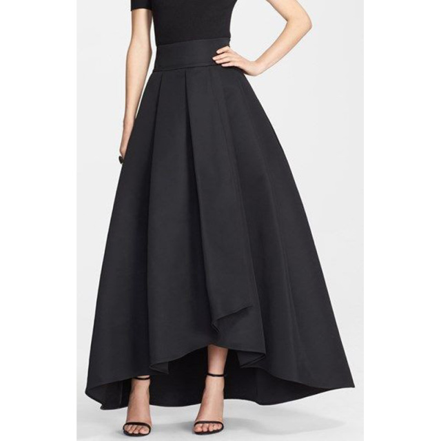 Top Quality Satin Black Skirts High Waist Custom Made Long Skirts ...