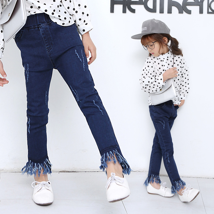 Girls Jeans Pants Spring Autumn Tassels Stretch Korean Cultivating Children Trousers Blue Demin