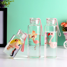 Fashion Thicker Flamingo Pattern Drink Bottle Portable Design Students Glass Water Creative Sport Drinking