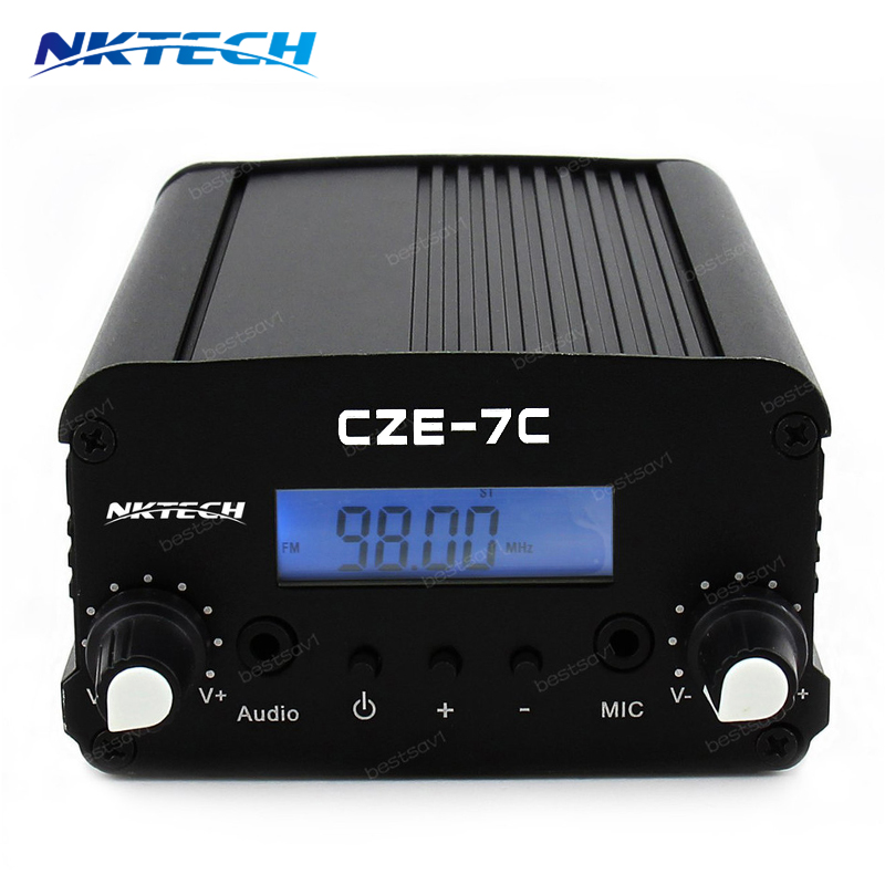 NKTECH CEZ-7C 1W/7W 76~108Mhz Backlight LCDStereo PLL FM Transmitter Radio Broadcast Station + AC Adapter + Antenna + AudioCable free shipping czh 15a 15w fm radio broadcast pll transmitter fm transmitter silver color