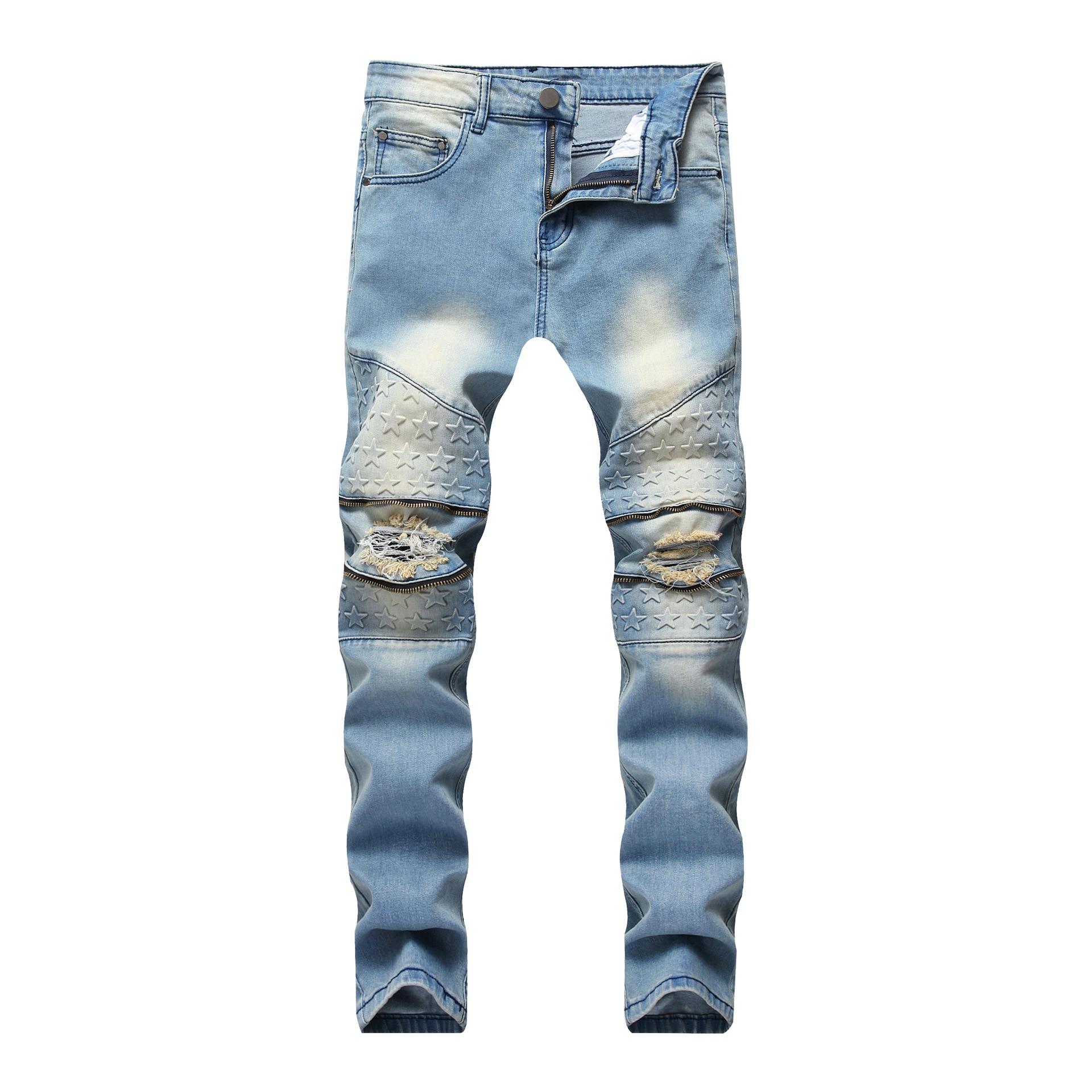 Mens Fashion Zipper Stretch Jeans Light Blue Knee Hole Straight Jeans Trousers Denim Slim Fit Ripped Hi-Street Distressed Pants