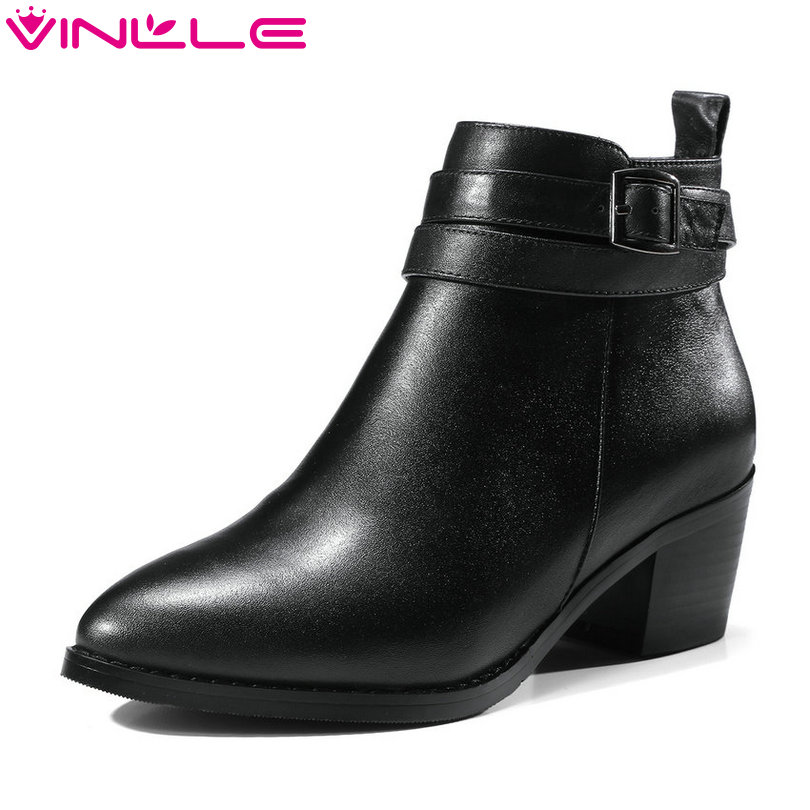 VINLLE 2018 Women Boots Ankle Boots Square Med Heel Genuine Leather Pointed Toe Zipper Ladies Motorcycle Shoes Size 34-39 vinlle women boot square low heel pu leather rivets zipper solid ankle boots western style round lady motorcycle boot size 34 43