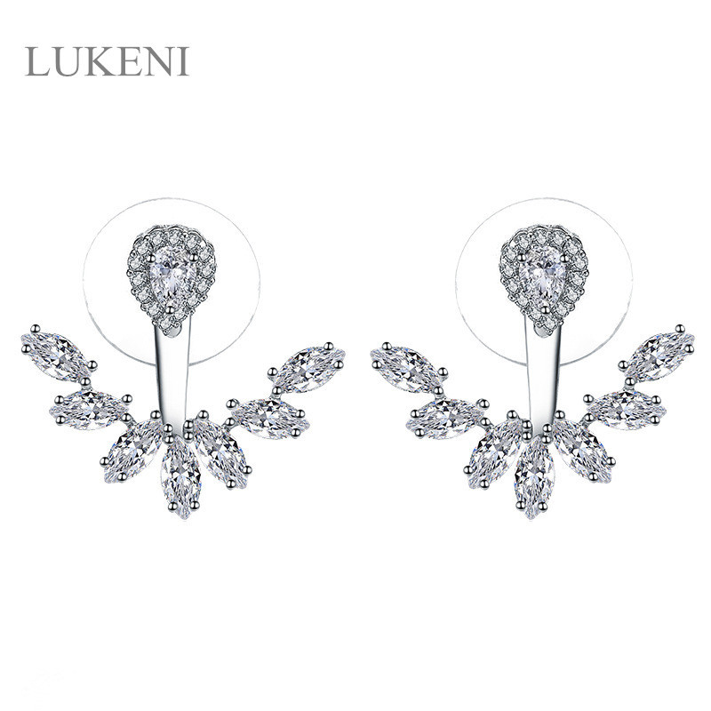 New Design Women Rose Gold /White Color AAA Cubic Zircon Tear Shape Sweety Stud Earrings ...