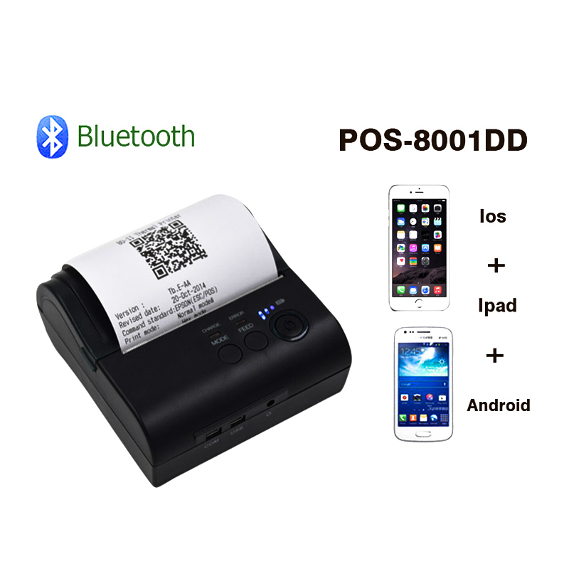 ZJiang 80mm Bluetooth Ticket Thermal Printer ZJ POS-8001DD Wireless Receipt Machine Supp ...