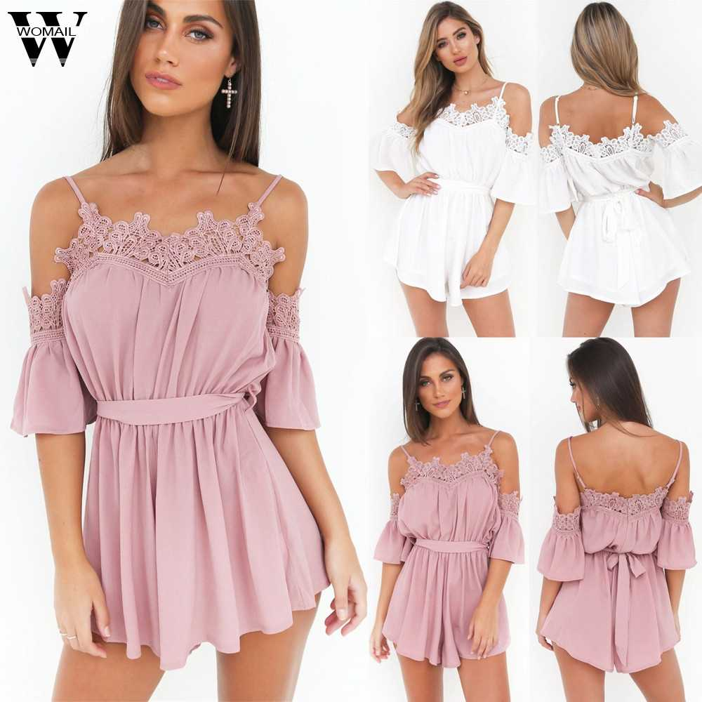 Womail body kobiety lato Off Shoulder szyfonowa bandaż Mini Playsuit spodenki kombinezon dungaree moda 2019 dropship f28