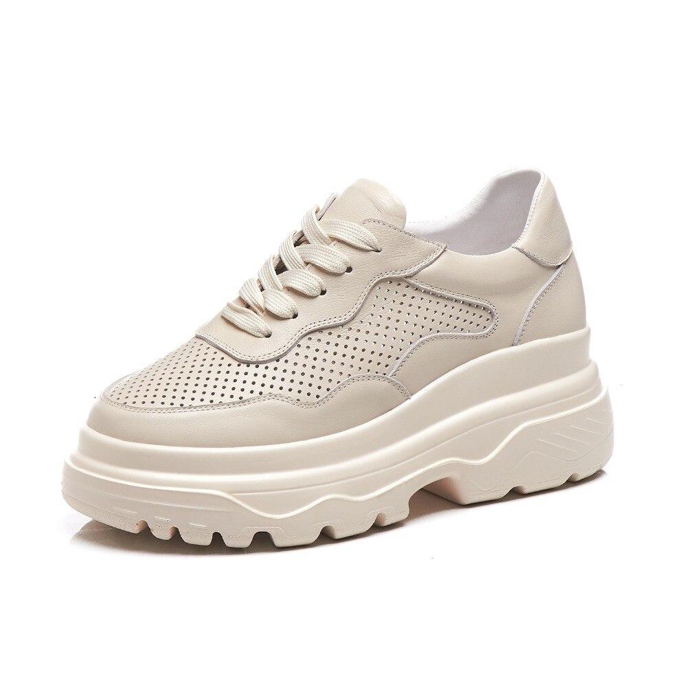 Lenksien 通気性ホール本革高ボトム白スニーカーレースアップフラットプラットフォーム日常着女性の加硫靴 L18  グループ上の 靴 からの レディースヴァルカナイズシューズ の中 3