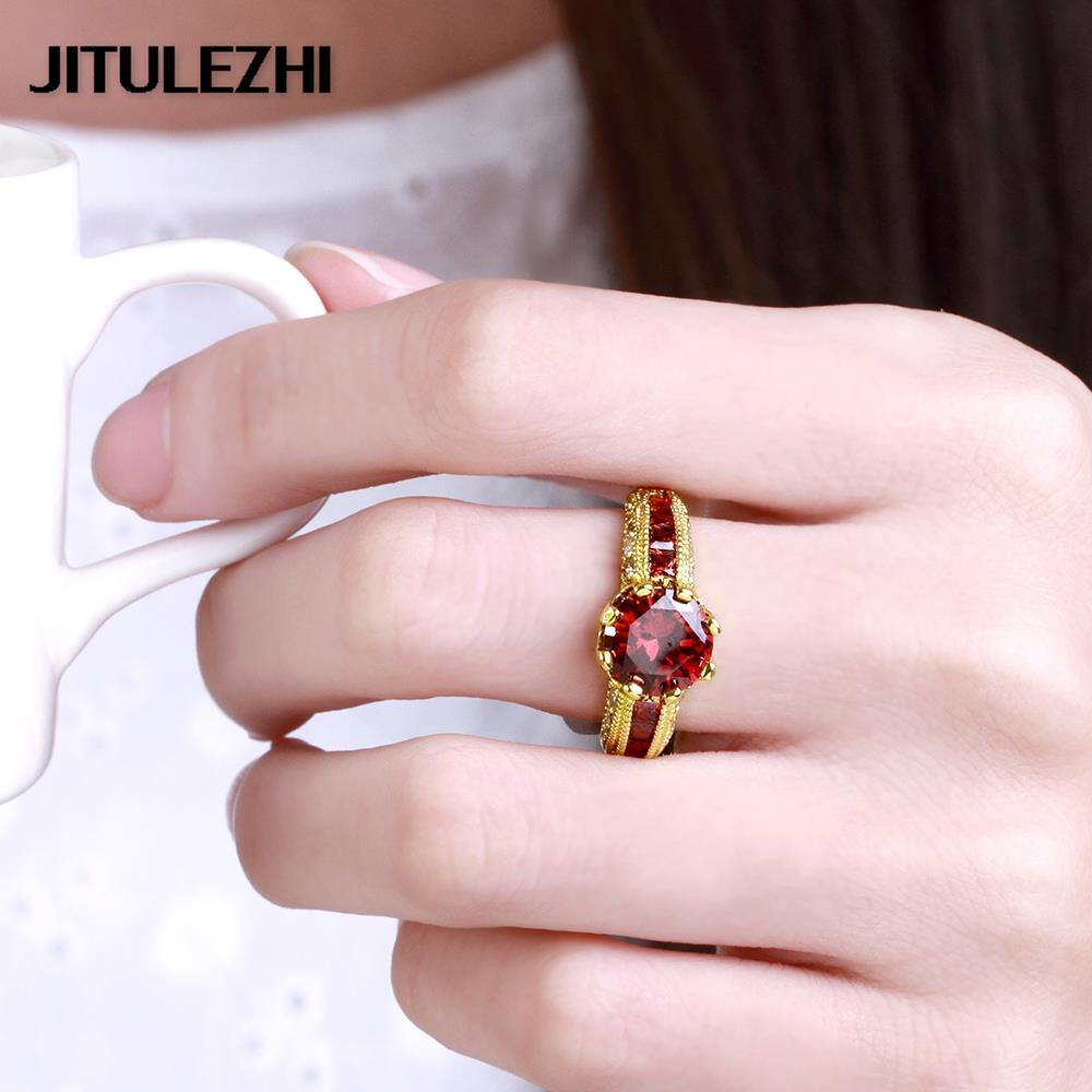 gold color rings for women men big stone wedding ring Bridal Jewelry ...