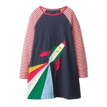 baby girl clothes dresses with rocket autumn for girls long sleeve fashion cartoon princess frocks kids dress