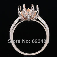 Round cut 8mm 14K Solid Rose Gold Natural Diamond Ring